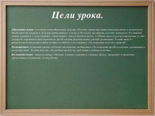 Цели урока. Образовательная: используя нетрадиционные формы обучения стимулир