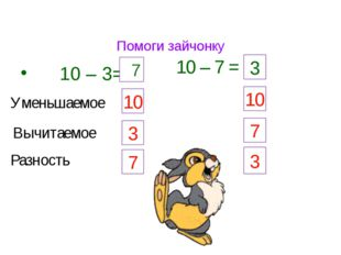 Помоги зайчонку 10 – 3= 7 10 – 7 = 3 Уменьшаемое 10 Вычитаемое 3 Разность 7 1