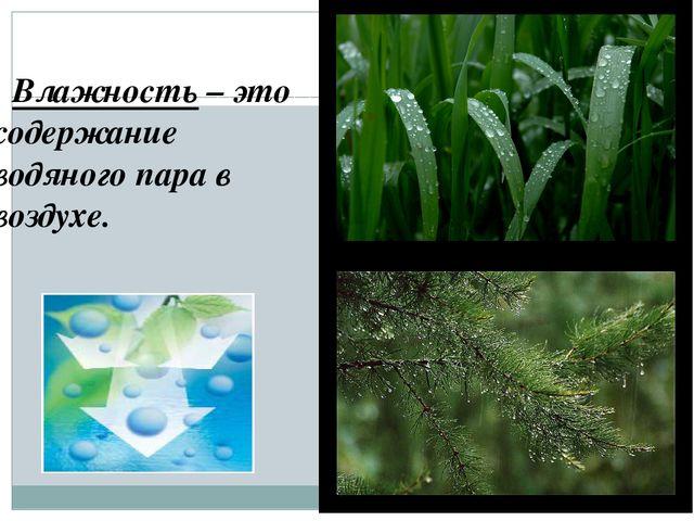 Влажность – это содержание водяного пара в воздухе.