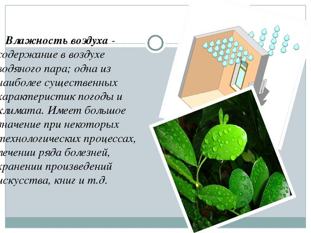 Влажность воздуха - содержание в воздухе водяного пара; одна из наиболее сущ...