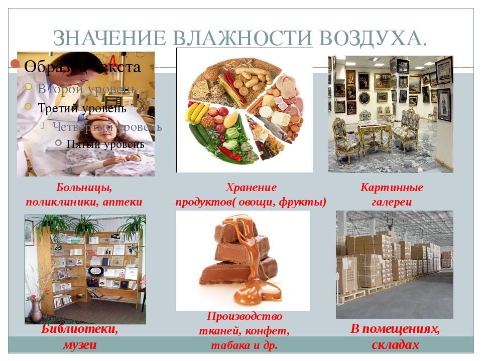 ЗНАЧЕНИЕ ВЛАЖНОСТИ ВОЗДУХА. Больницы, поликлиники, аптеки Хранение продуктов(...