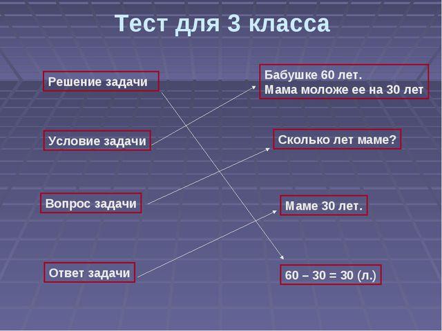 Тест для 3 класса Решение задачи Условие задачи Вопрос задачи Ответ задачи Ба...