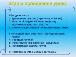 Этапы проведения урока I Вводная часть Деление на группы (стратегия «Свечи»)