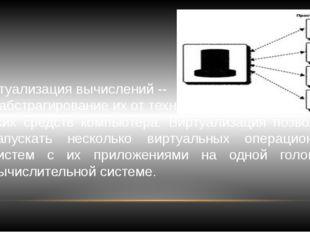 Виртуализация вычислений -- это абстрагирование их от техни- ческих средств к