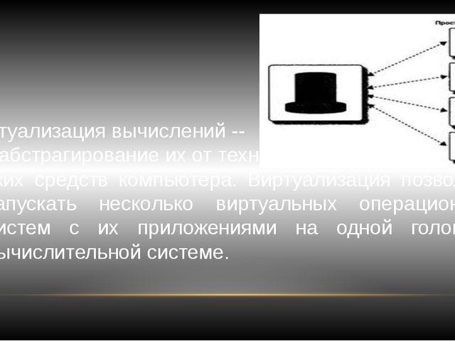 Виртуализация вычислений -- это абстрагирование их от техни- ческих средств к...