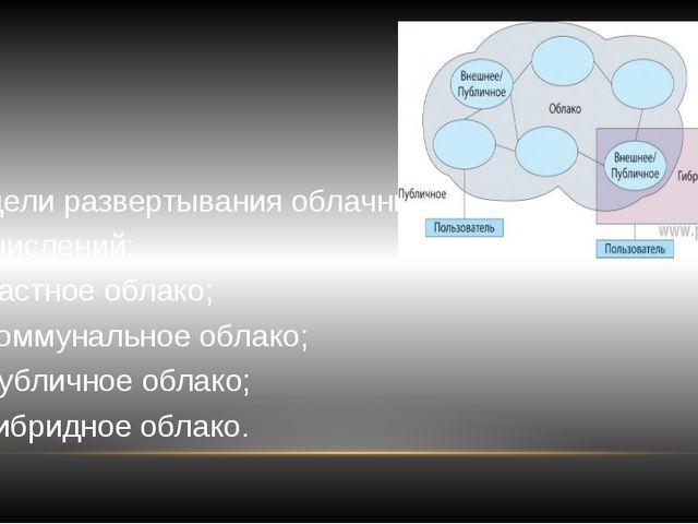 Модели развертывания облачных вычислений: частное облако; коммунальное облако...