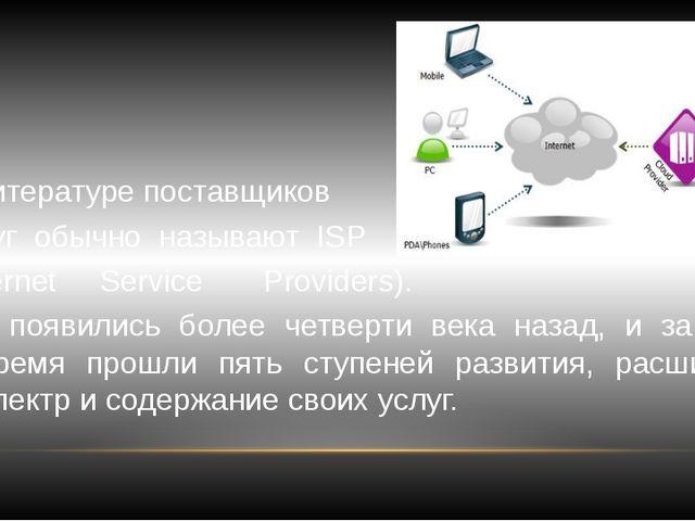 В литературе поставщиков услуг обычно называют ISP (Internet Service Provider...