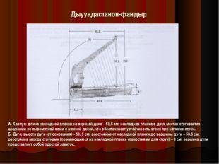 Дыууадастанон-фандыр А. Корпус: длина накладной планки на верхней деке – 50,5