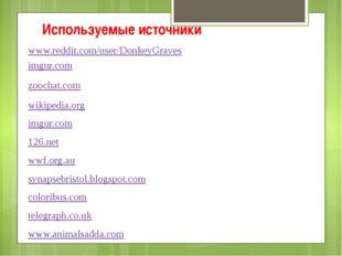 Используемые источники www.reddit.com/user/DonkeyGraves imgur.com zoochat.com