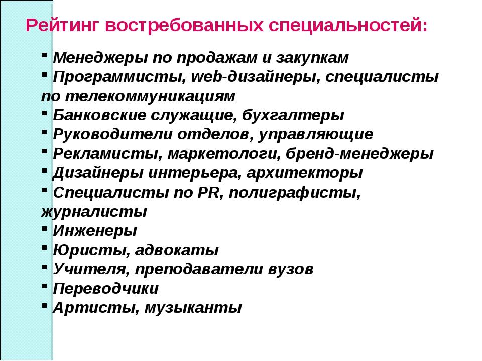 Рейтинг востребованных специальностей: Менеджеры по продажам и закупкам Прогр...