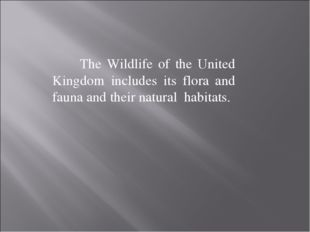 The Wildlife of the United Kingdom includes its flora and fauna and their na
