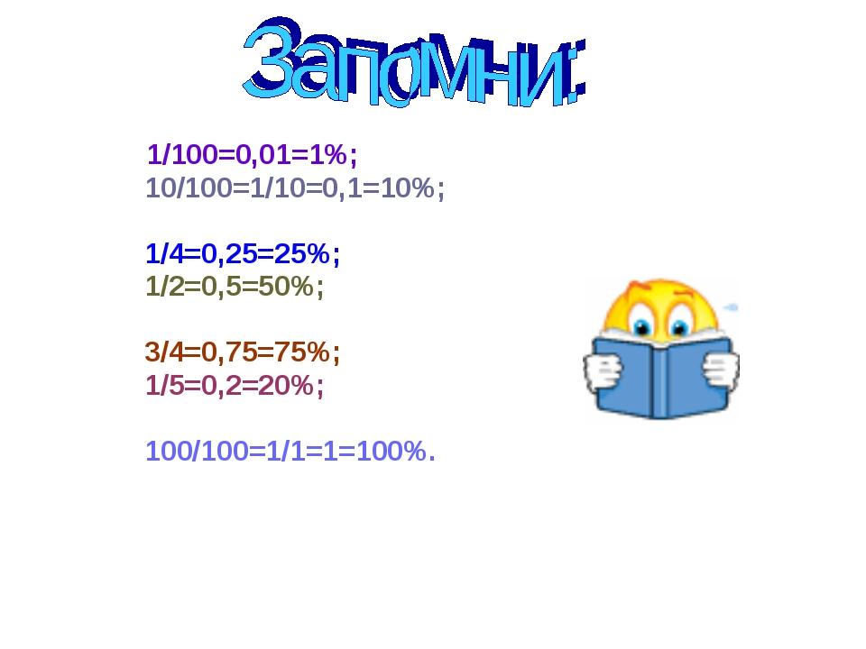 1/100=0,01=1%; 10/100=1/10=0,1=10%; 1/4=0,25=25%; 1/2=0,5=50%; 3/4=0,75=75%;...