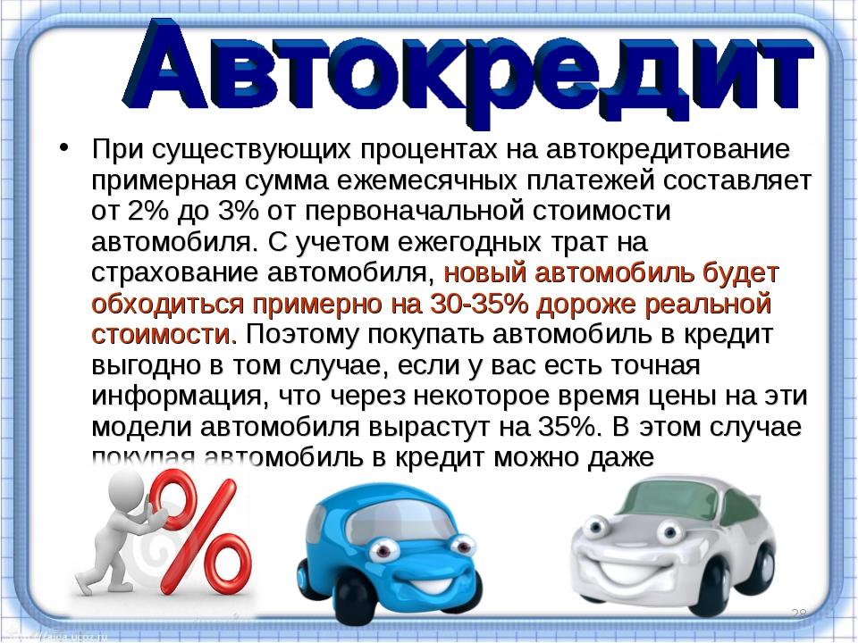 * При существующих процентах на автокредитование примерная сумма ежемесячных...
