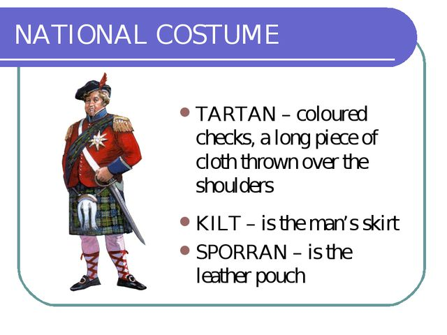 NATIONAL COSTUME TARTAN – coloured checks, a long piece of cloth thrown over...