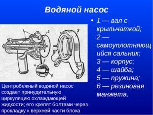 Водяной насос 1 — вал с крыльчаткой; 2 — самоуплотняющийся сальник; 3 — кор