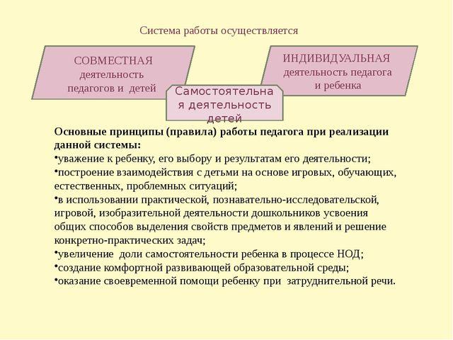 Система работы осуществляется СОВМЕСТНАЯ деятельность педагогов и детей ИНДИ...