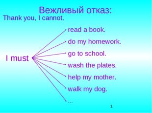 Вежливый отказ: Thank you, I cannot. I must read a book. do my homework. go t