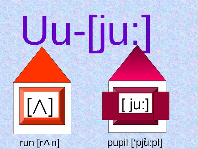 Uu-[ju:] [ ] [ ju:] run [r n] pupil ['pju:pl]