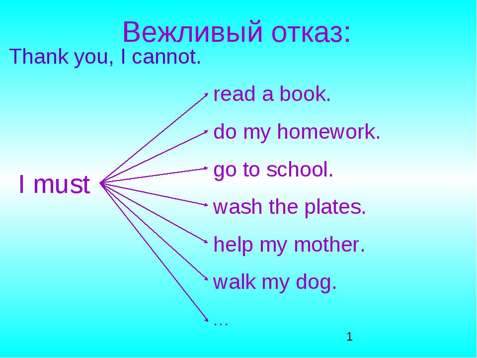 Вежливый отказ: Thank you, I cannot. I must read a book. do my homework. go t...