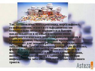 Так, установлено, что стрептоцид, норсульфазол, сульфадимезин, этазол и суль