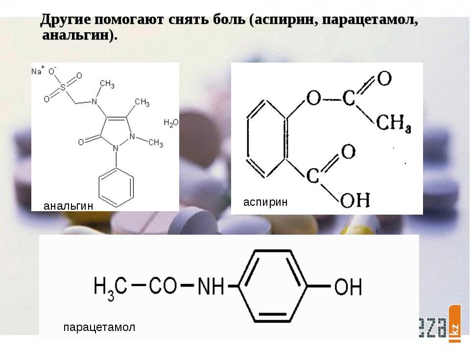 Другие помогают снять боль (аспирин, парацетамол, анальгин). анальгин аспири...