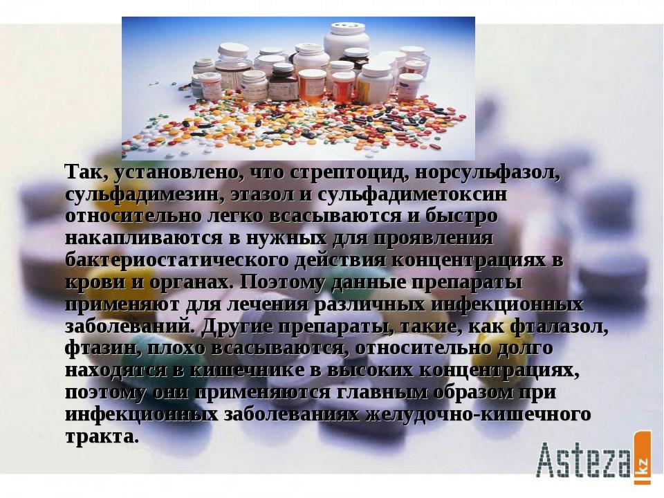 Так, установлено, что стрептоцид, норсульфазол, сульфадимезин, этазол и суль...