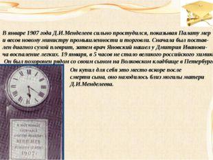 В январе 1907 года Д.И.Менделеев сильно простудился, показывая Палату мер и в