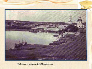 Тобольск – родина Д.И.Менделеева.