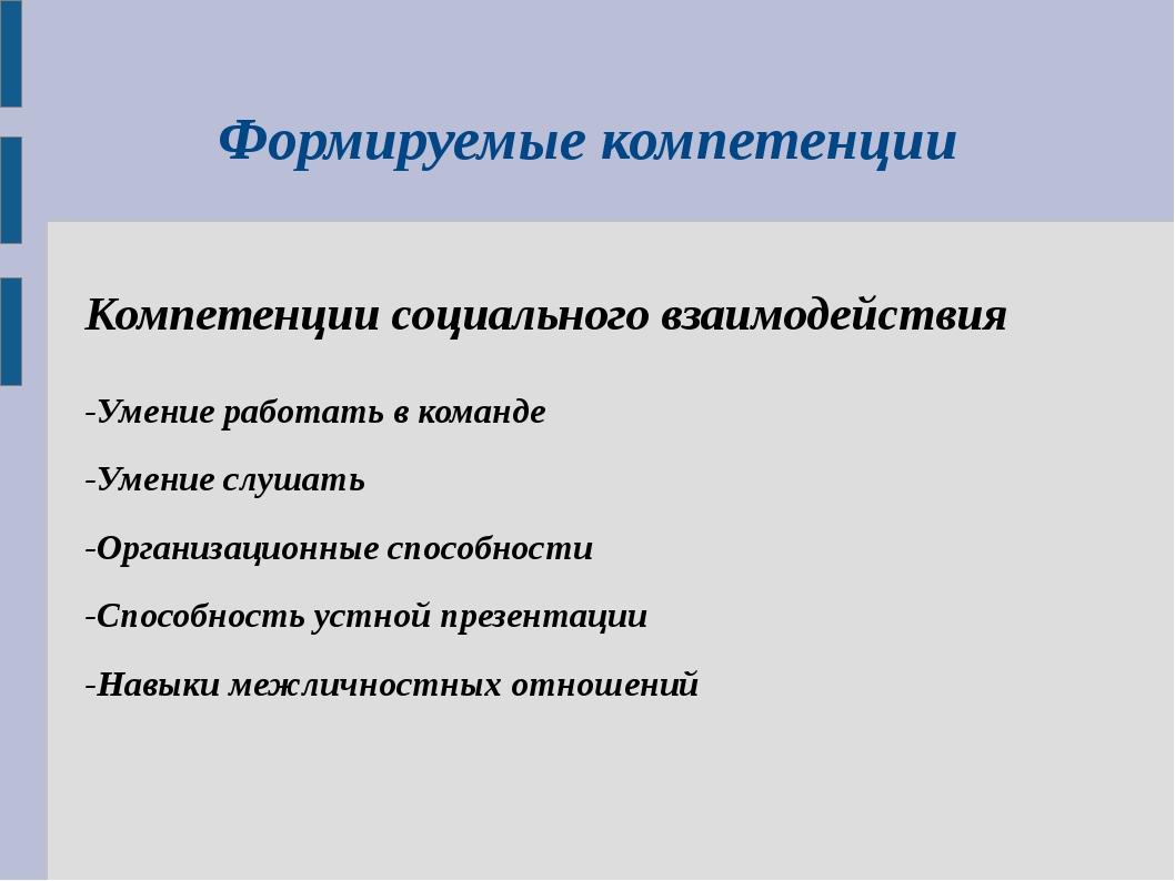 Формируемые компетенции Компетенции социального взаимодействия -Умение работа...