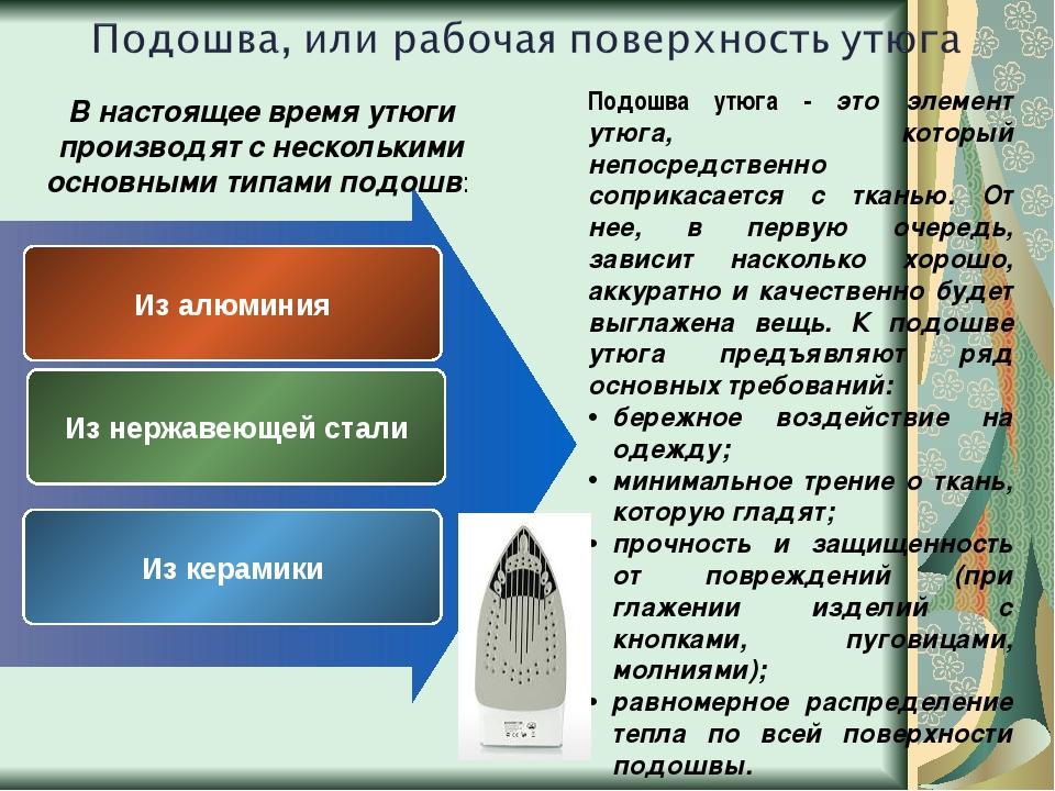 Из алюминия Из нержавеющей стали Из керамики Подошва утюга - это элемент утю...