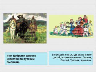 Имя Добрыня широко известно по русским былинам. В больших семья, где было мно