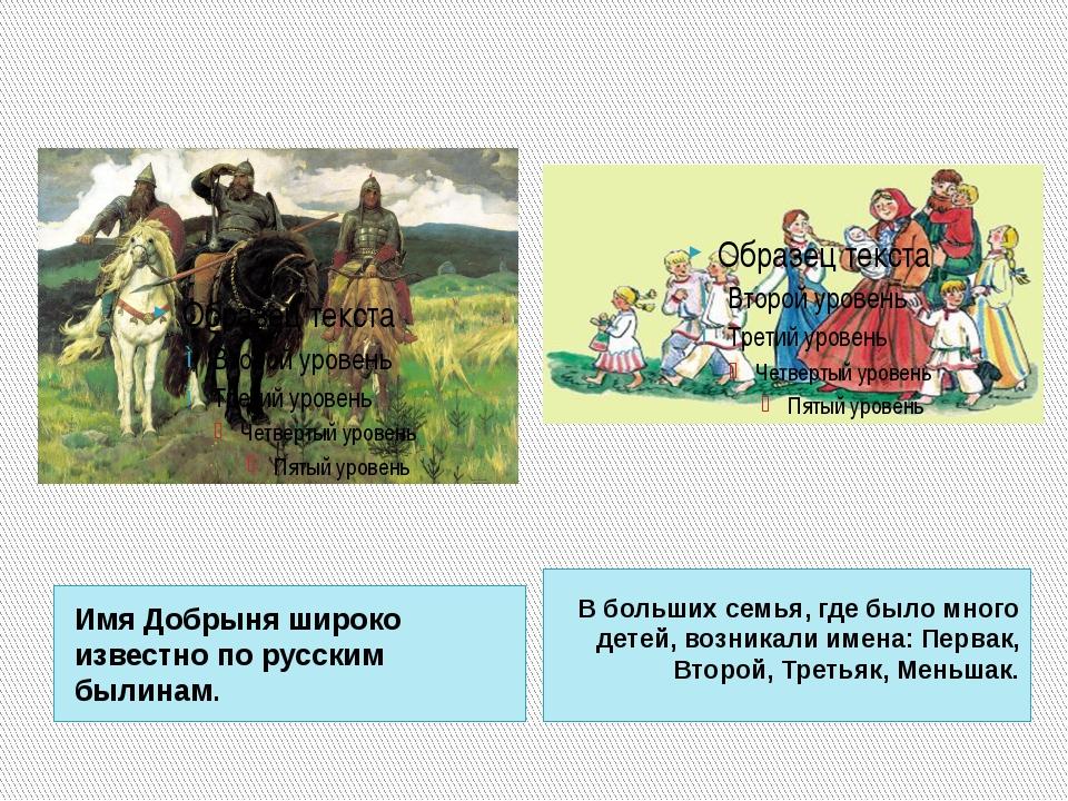 Имя Добрыня широко известно по русским былинам. В больших семья, где было мно...