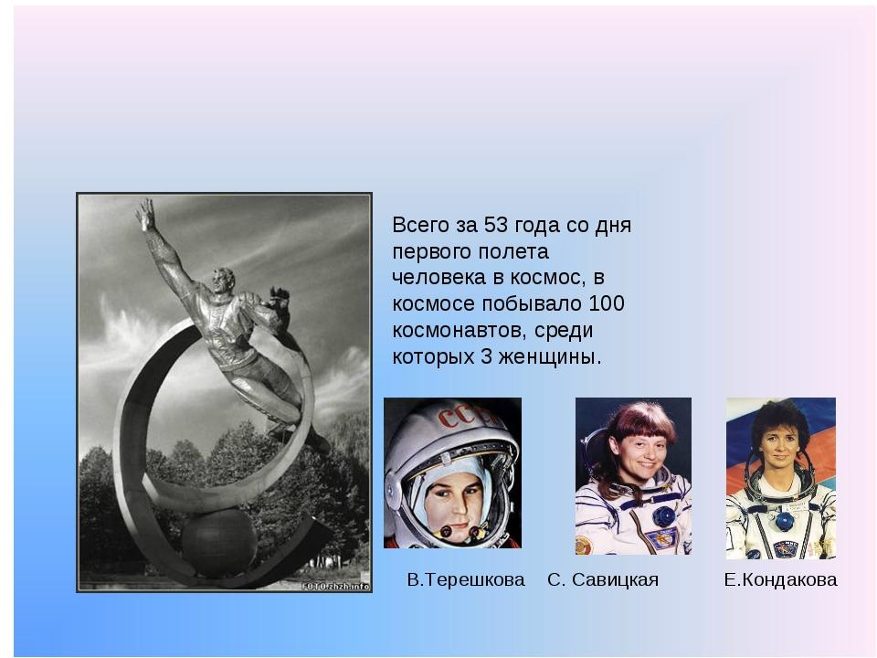 Всего за 53 года со дня первого полета человека в космос, в космосе побывало...