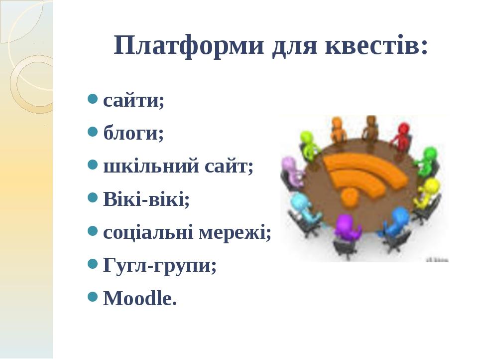 Платформи для квестів: сайти; блоги; шкільний сайт; Вікі-вікі; cоціальні мере...