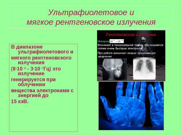Ультрафиолетовое и мягкое рентгеновское излучения В диапазоне ультрафиолетово...