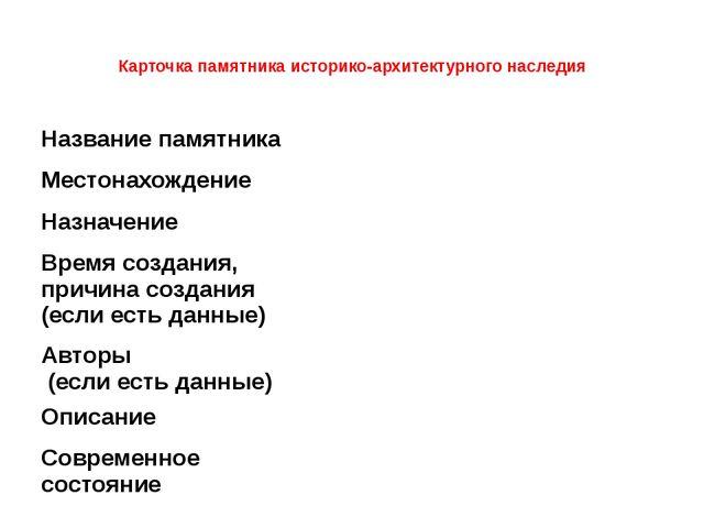 Карточка памятника историко-архитектурного наследия Названиепамятника  Мест...
