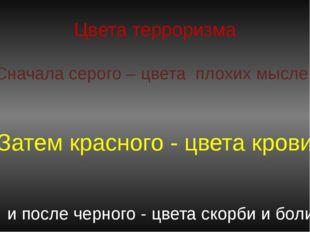Цвета терроризма Сначала серого – цвета плохих мыслей Затем красного - цвета