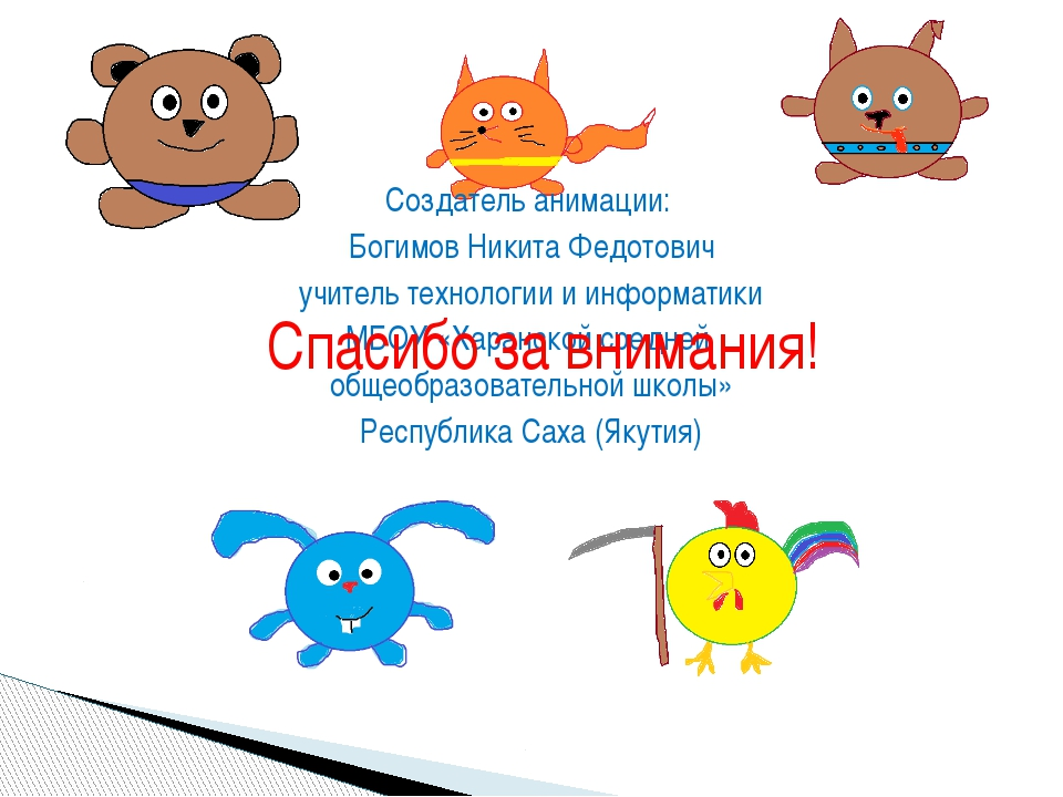 Создатель анимации: Богимов Никита Федотович учитель технологии и информатики...