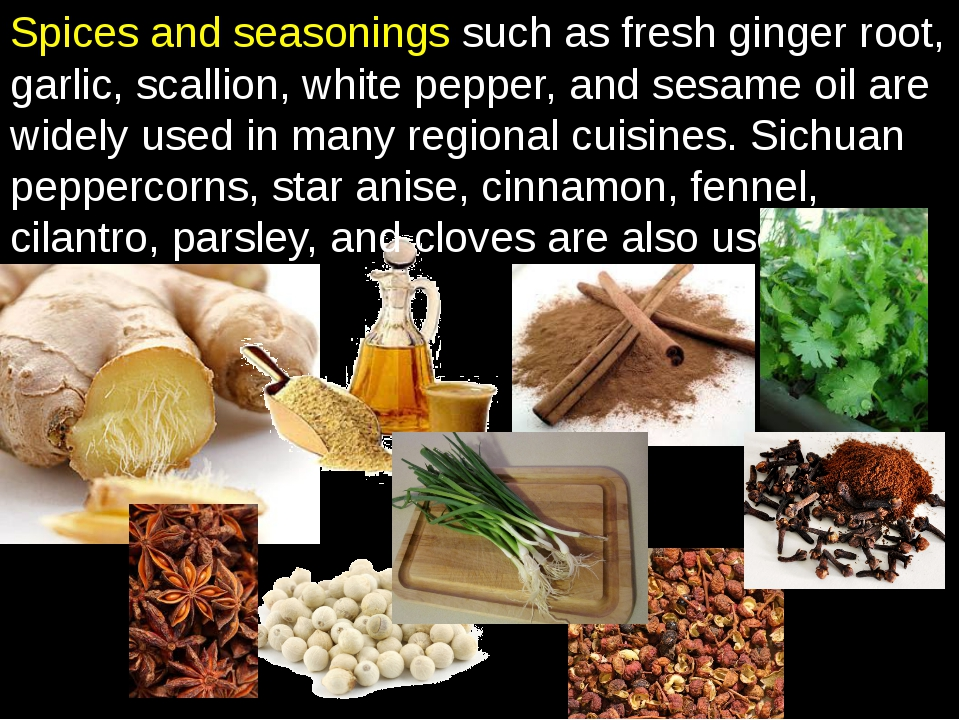 Spices and seasonings such as fresh ginger root, garlic, scallion, white pepp...