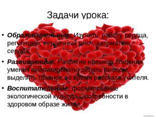 Задачи урока: Образовательные: Изучить работу сердца, регуляцию, сердечный ци