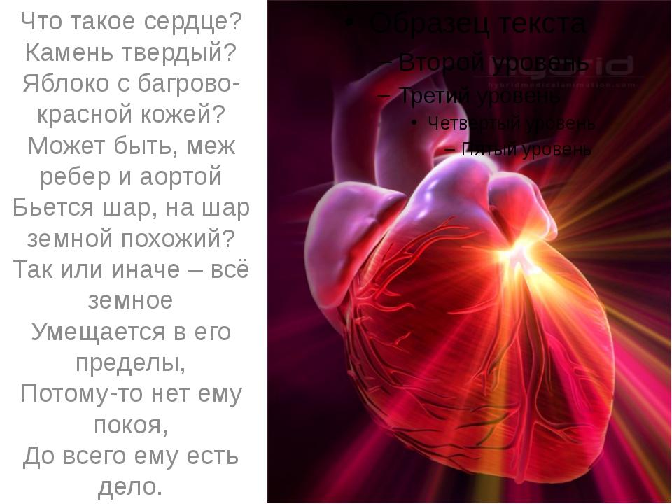 Что такое сердце? Камень твердый? Яблоко с багрово-красной кожей? Может быть...
