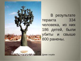 В результате теракта 334 человека, из них 186 детей, были убиты и свыше 800