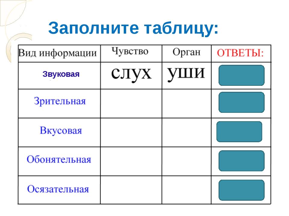 Заполните таблицу: Звуковая