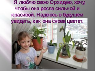 Я люблю свою Орхидею, хочу, чтобы она росла сильной и красивой. Надеюсь в бу