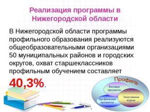 Реализация программы в Нижегородской области В Нижегородской области программ