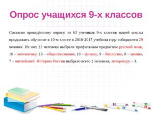 Опрос учащихся 9-х классов Согласно проведённому опросу, из 63 учеников 9-х к