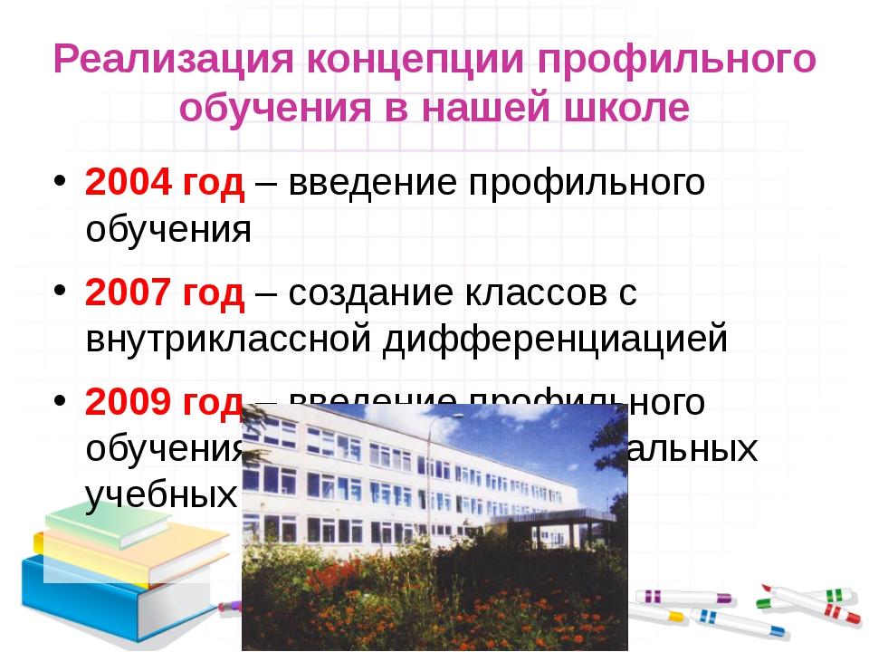 Реализация концепции профильного обучения в нашей школе 2004 год – введение п...