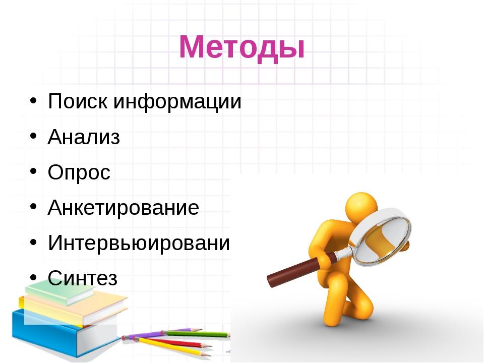 Методы Поиск информации Анализ Опрос Анкетирование Интервьюирование Синтез