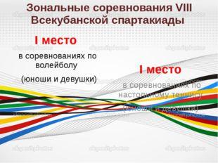 Зональные соревнования VIII Всекубанской спартакиады I место в соревнованиях