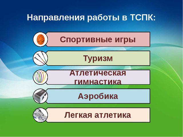 Направления работы в ТСПК: